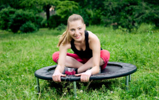 Relaxed woman on a rebounder